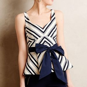 Anthropologie mitered stripe peplum top/NEW in bag